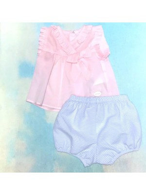 Cocote pink blouse and blue striped jampants set