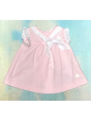 Cocote pink and white striped ruffle dress