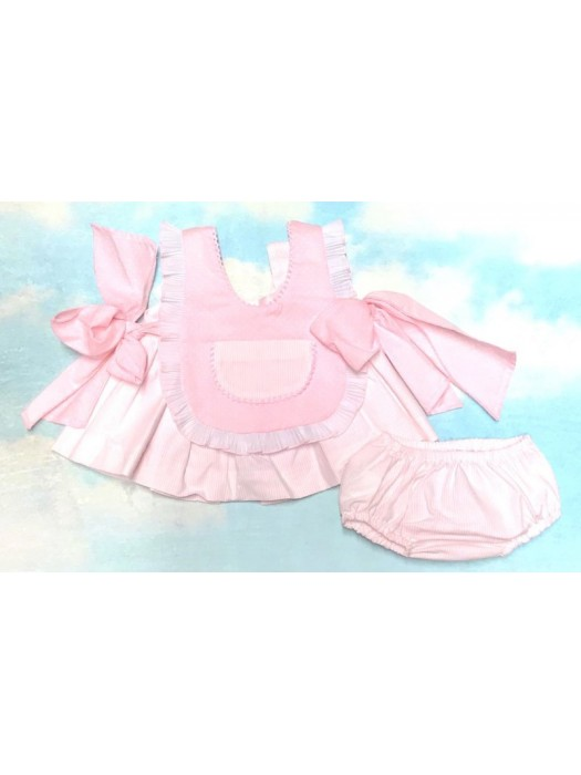 Babine pink and white pinafore dress 3 piece set