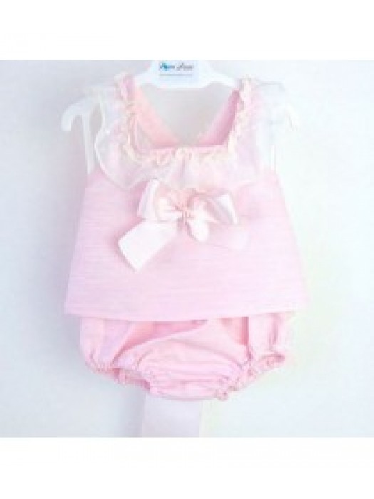 Ceyber pink ruffle trim 3 piece set