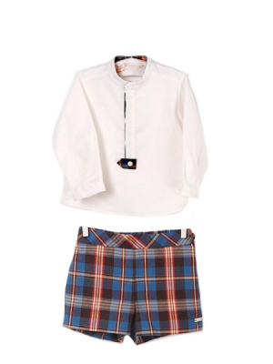 Cocote chocolate tartan shorts and shirt set