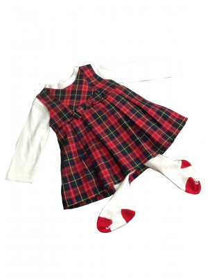 Babybol girls tartan 3 piece dress set