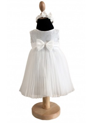 Ivory pleated special occasions dress and headband