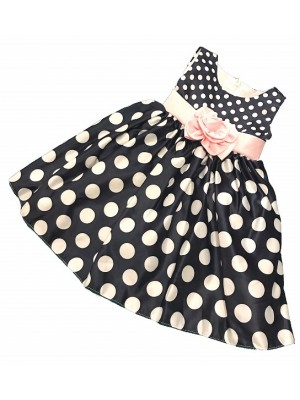 polkadot puffball dress navy and white
