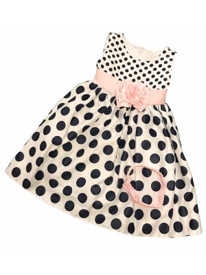 Polkadot puffball dress white and navy