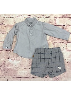 Jose Varon grey shirt and grey check shorts set for boys