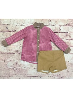 Amore de matre floral print shirt and camel shorts set for boys