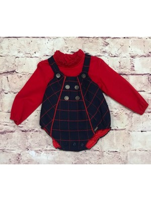 Babine navy and red 2 piece romper set for boys
