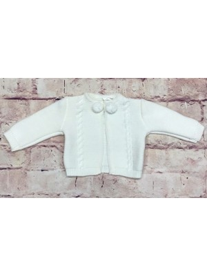 Knitted white Pom Pom cardigan