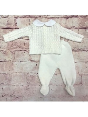 Knitted white 2 piece set
