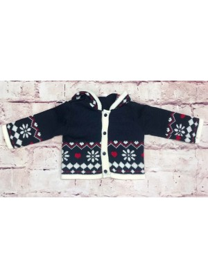 Knitted navy fair isle hooded cardigan