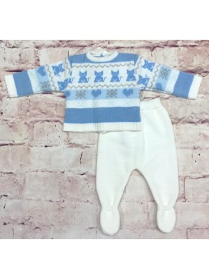 Sardon knitted blue striped 2 piece set for boys