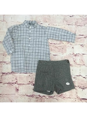 jose varon grey checked shirt and tweed short set