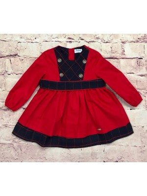babine navy and red puffball dress