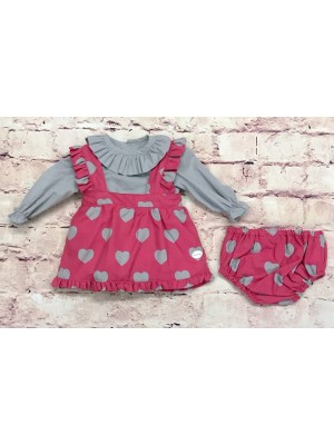 Cocote raspberry and grey heart print 3 piece set