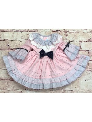Abuela Tata pink and grey puffball dress