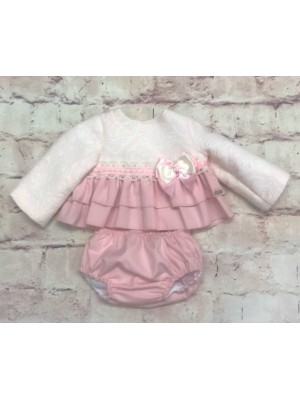babine pink and cream ruffled 2 piece set