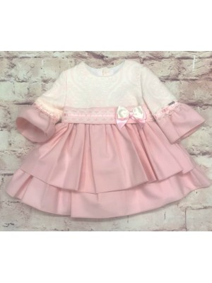 babine pink and cream ruffle puffball dress