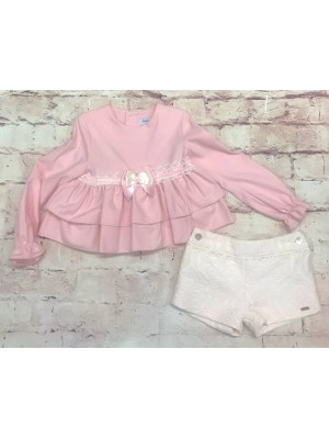 babine pink and cream ruffled shorts set