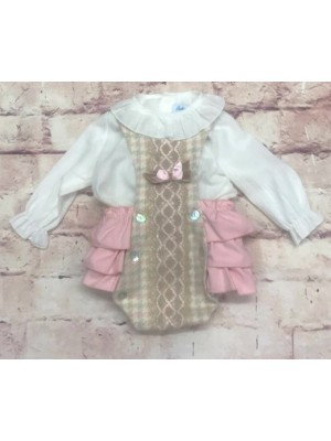 babine pink and camel ruffled romper and blouse set