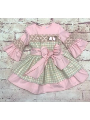 Babine pink and camel big bow dress