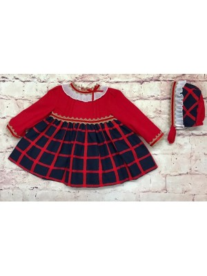 miranda red and navy check puffball dress and bonnet set
