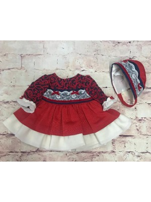 miranda red and navy puffball dress and bonnet set