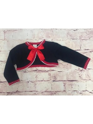 pretty originals navy, red and white bow cardigan