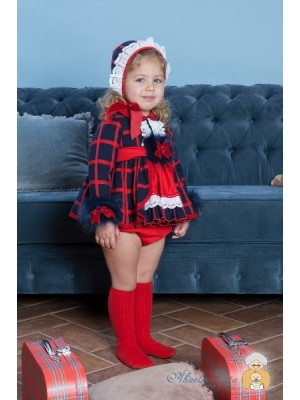 Abuela Tata navy and red 3 piece dress set