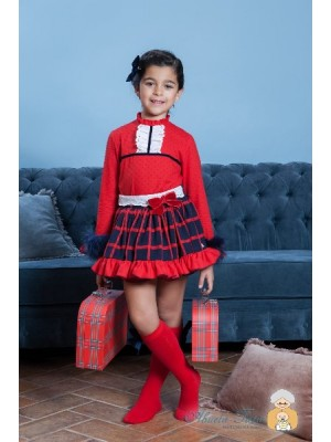 Abuela Tata navy and red skirt and blouse set