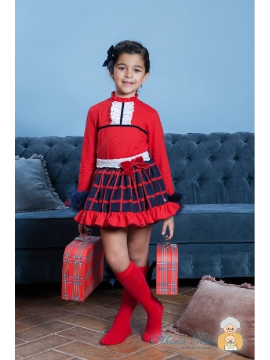 Sold out abuela Tata navy and red skirt and blouse set