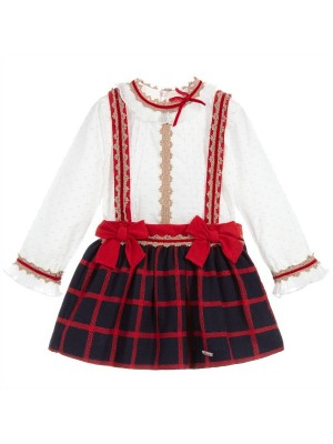 miranda red and navy skirt and blouse set