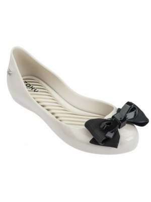 zaxy ivory and black bow shoes