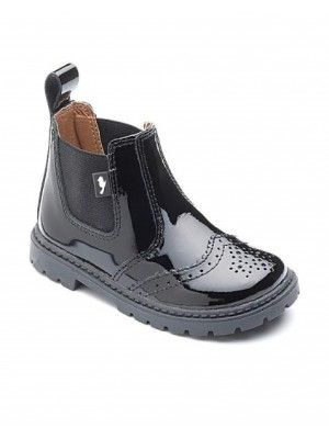 chipmunk black patent brogue boots