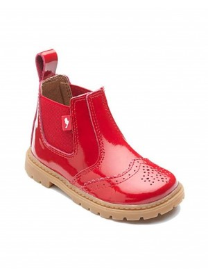 chipmunk red patent brogue boots